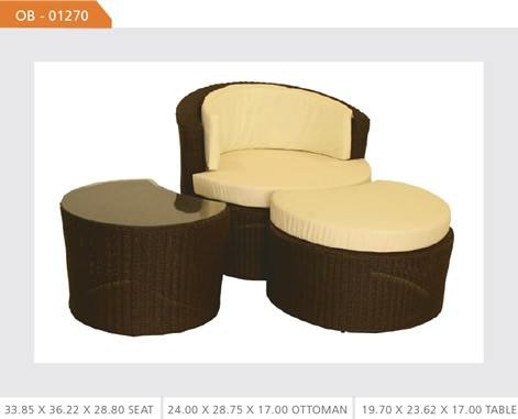 Outdoor Wicker Chair and Ottoman Set